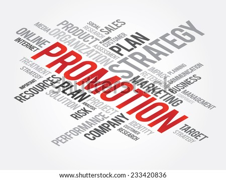 Word Cloud with Promotion related tags, vector business concept - stock vector