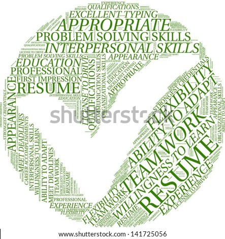Word cloud with qualification terms in circle - stock vector
