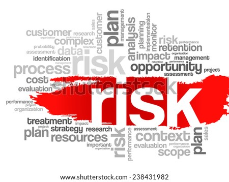 Word Cloud with RISK related tags, vector business concept - stock vector