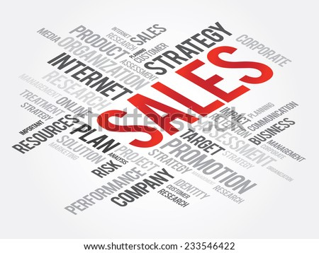 Word Cloud with SALES related tags, vector business concept - stock vector