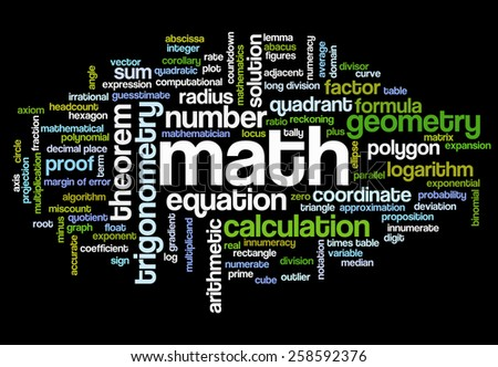 Word cloud with words related to mathematics, trigonometry, algebra, geometry and similar mathematical terms - stock vector