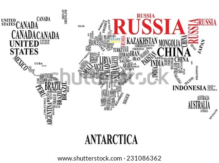 Word cloud world map with Russia and Ukraine  - stock vector