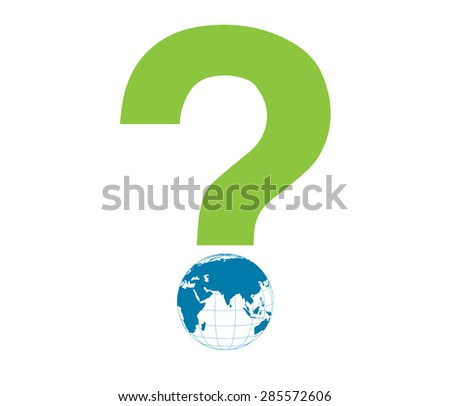 Word Eco globe illustration vector.Earth globe with question mark illustration.Global interrogation vector.Question mark globe.Global warming for nature and the world.