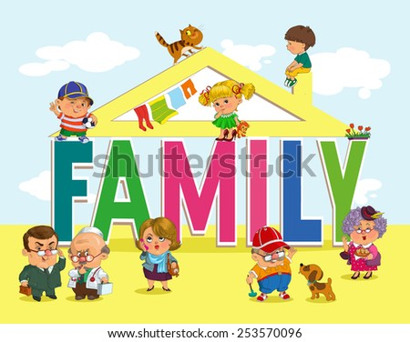 Word family with fun and happy children and adults. - stock vector