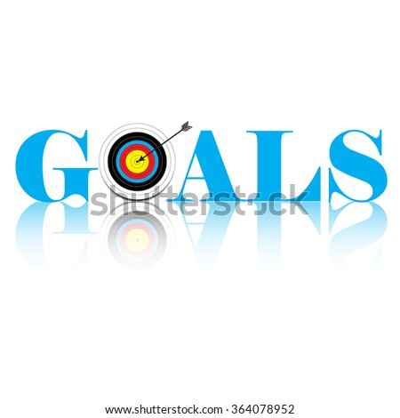 Word GOAL as a target and an arrow at the center - stock vector