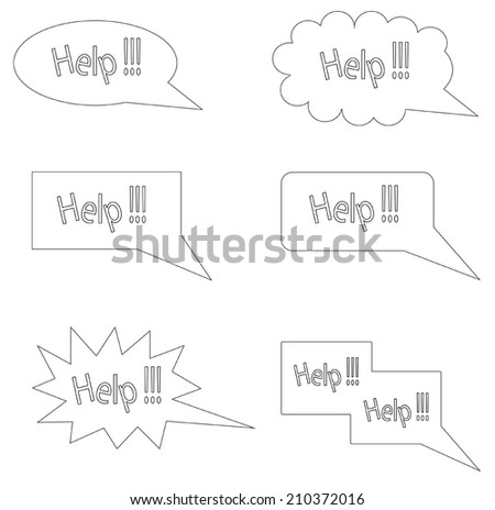 word 'help' in the message box. - stock vector