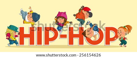 Word hip-hop with colorful and happy funny dancers.  - stock vector