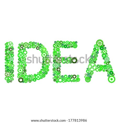 "Word ""Idea"" vector from gears - stock vector"