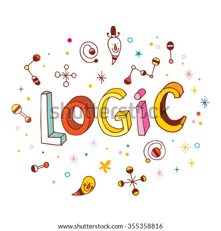 word Logic - hand lettering design - stock vector