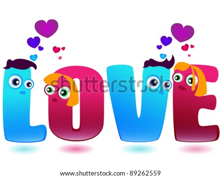 """Word """"Love"""" made of enamored blue and pink letters - stock vector"""