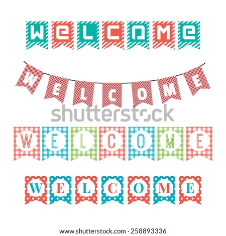 Word of welcome to the party flags. vector - stock vector