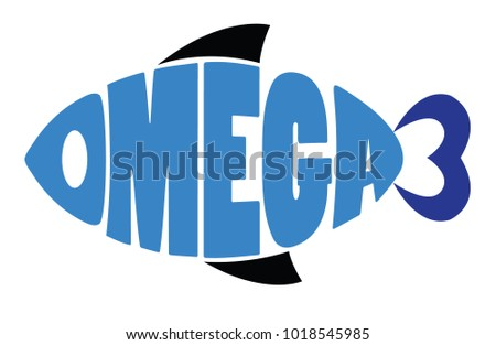 Word Omega 3 Shaped Fish Symbol Stock Vector 1018545985 Shutterstock