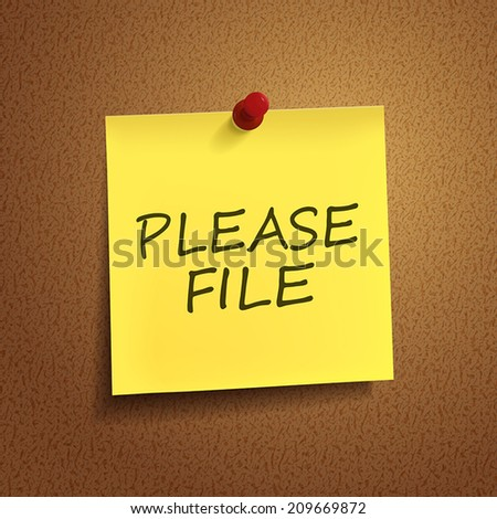 word on note over brown background - stock vector