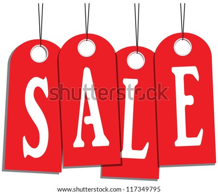 Word on the red tag sale. Vector illustration.