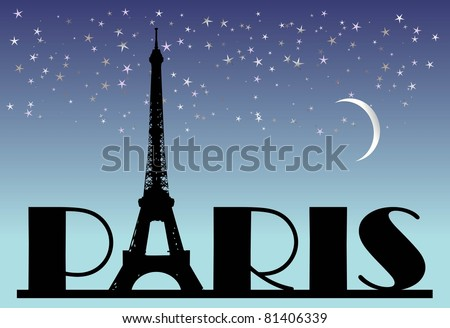 word Paris on the night background - stock vector