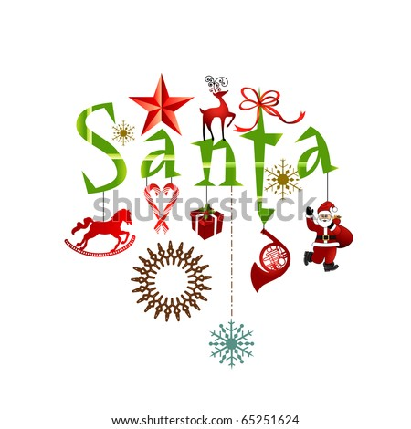 word SANTA with decorative elements - stock vector