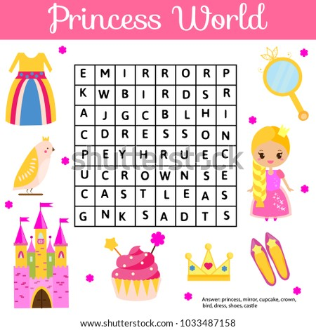 word search puzzle kids activity educational stock vector 1033487158 shutterstock
