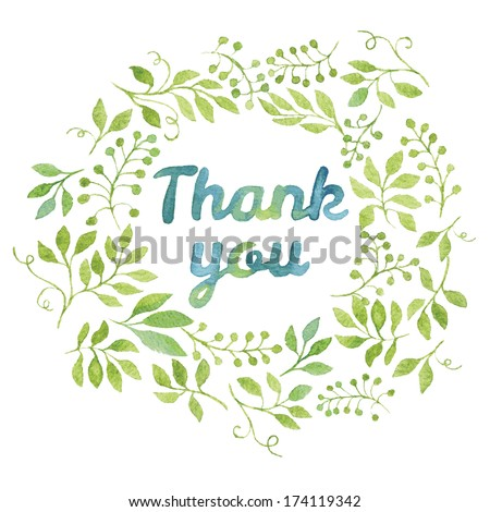 """Word """"Thank you"""" in simple and cute floral oval wreath with spring branches and leaves. Vectorized watercolor drawing. - stock vector"""