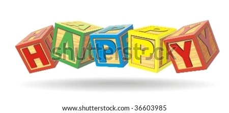 Word the happy from cubes with letters - stock vector