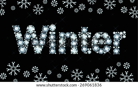 Word winter made of diamonds - stock vector