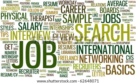 Wordcloud with conceptual job search related words - stock vector