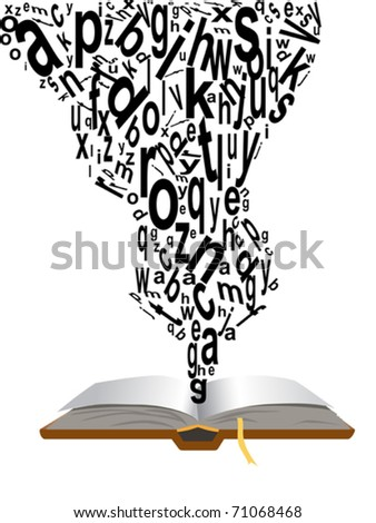 words coming from book - stock vector