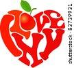 "Words ""I love NY"" and apple shaped in heart symbol - stock vector"