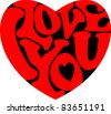 "Words ""I Love you' shaped in heart symbol - stock vector"