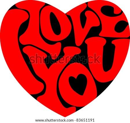 Words I Love You Shaped Heart Stockvector 83651191 Shutterstock