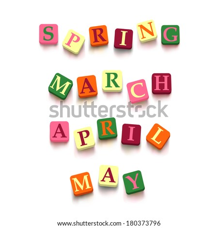 "Words ""spring"", ""march"", ""april"" , ""may"" with colorful blocks isolated on a white background. Descriptions with bright cubes. Vector illustration EPS 10. - stock vector"