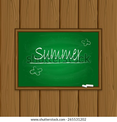 Words Summer written on a green chalkboard with chalk on wooden background, illustration. - stock vector