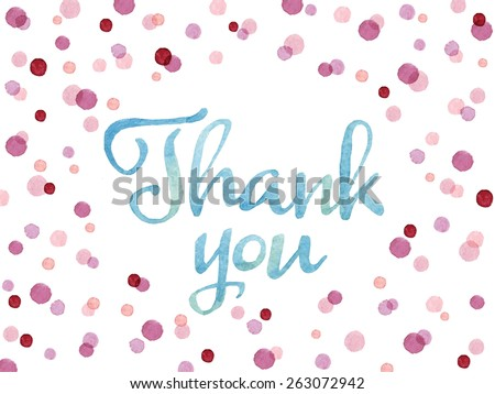 Words Thank You painted with blue watercolor in colorful watercolor dots. Thank you card template with oval shape. Vectorized watercolor painting.  - stock vector