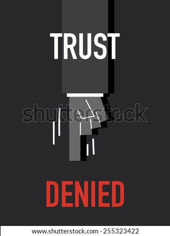 Words TRUST DENIED - stock vector