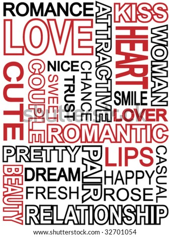 Words which relate with word love (abstract concept) - stock vector