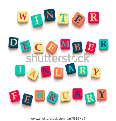 "Words ""winter"", ""february"", ""january"", ""december"" ; with colorful blocks isolated on a white background. Descriptions with bright cubes. Vector illustration EPS 10. - stock vector"