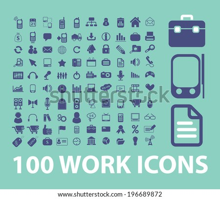 work, business, management, organization icons, signs set, vector - stock vector