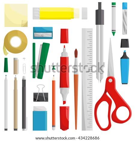 work draw sketch stationary set illustration - stock vector