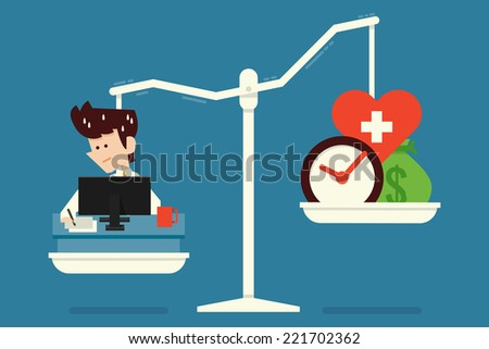 work for life flat design concept - stock vector