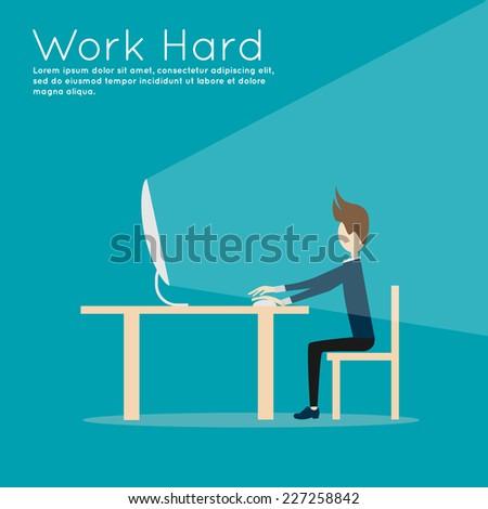 work hard! vector - stock vector