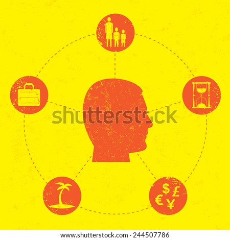 Work Life Balance A man considering some of the important aspects of life. These include his family, time, business, money, and vacation. The artwork and background are on separate labeled layers. - stock vector