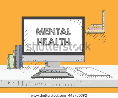 Work on the desktop screen - stock vector