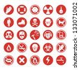 Work protection set with various icons - stock photo