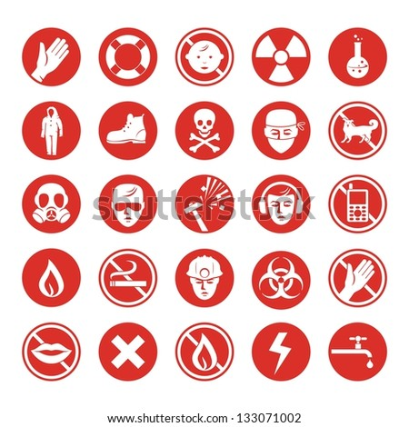 Work protection set with various icons - stock vector