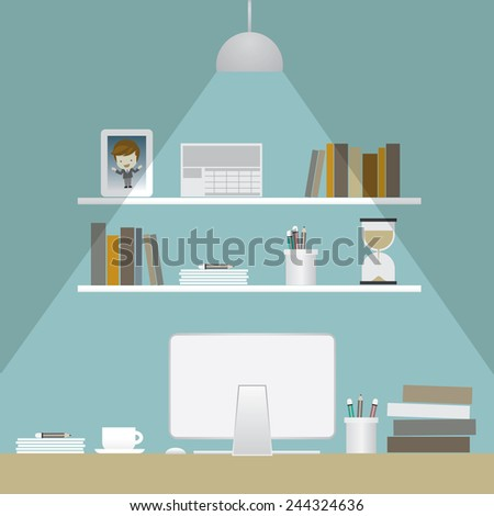 work room in night and turn on a lamp, vector illustration - stock vector