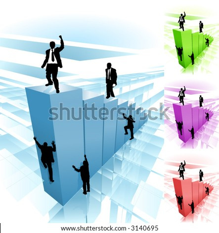 Work smarter not harder. Business people striving to reach the top, some taking hard way climbing, while others take easy route. Separate layers for easy editi. Several different color versions - stock vector