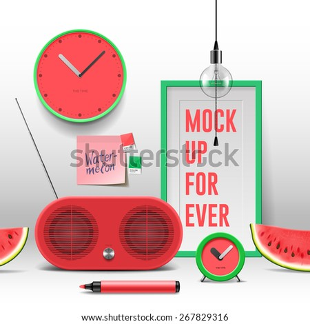 Work space mock up, red objects, vector illustration. - stock vector