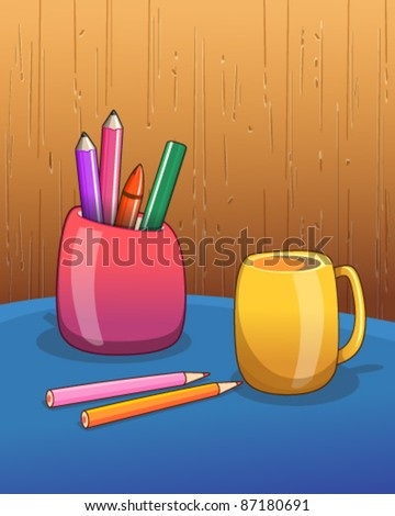 Work table with wooden wall background - stock vector