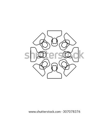 Work team concept. Outline black simple vector pictogram - stock vector