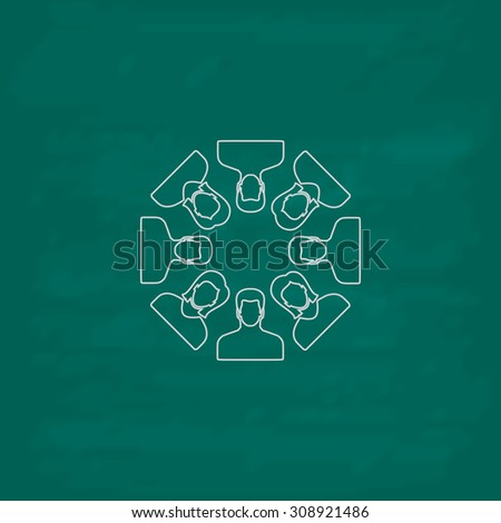 Work team concept. Outline vector icon. Imitation draw with white chalk on green chalkboard. Flat Pictogram and School board background. Illustration symbol - stock vector
