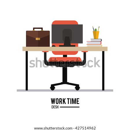 Work time design. Office icon. Colorful illustration